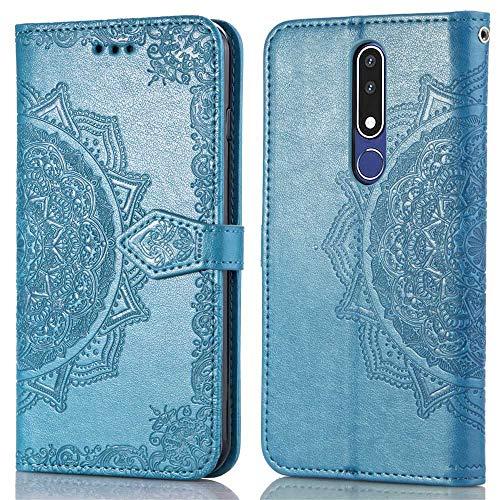 Bear Village Hülle für Nokia 3.1 Plus, PU Lederhülle Handyhülle für Nokia 3.1 Plus, Brieftasche Kratzfestes Magnet Handytasche mit Kartenfach, Blau