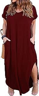 Women's Casual Loose Pocket Long Dress Short Sleeve Plus Size Slit Maxi Dress