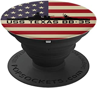 USS Texas BB-35 Battleship Gift USA American Flag PopSockets Grip and Stand for Phones and Tablets