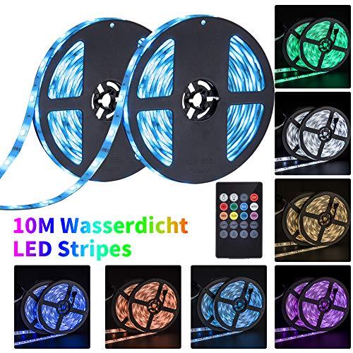 10M Tira de LED RGB, Regulable Tiras de luz LED con control de música, Multicolor, IP65 Impermeable, 5050 SMD, Acortar, Divisible, Para Navidad, Fiesta, Boda, Decoración De Interiores