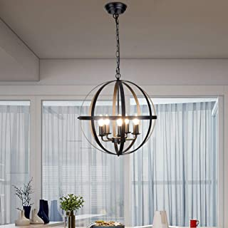 DLLT Pendant Light Metal, 5-Light Globe Pendant Lighting,...