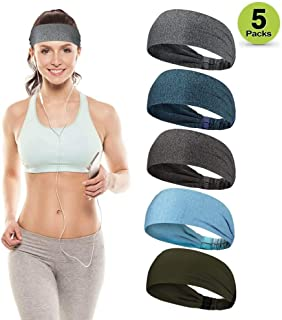 HUIJIE Sports Headbands for Women Men, Non-Slip Sweatbands, Moisture Wicking Headband, Unisex Hairband for Workout, Yoga, Running, CrossFit, Cycling, Stretchy Soft Hair Sweatband Set of Various Styles