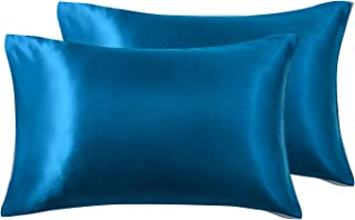 Love's cabin Silk Satin Pillowcase for Hair and Skin (Teal Blue, 20x26 inches) Slip Pillow Cases Standard Size Set of 2 - ...