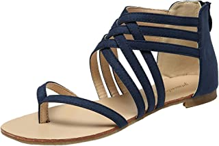GETMOREBEAUTY Women's Flip Flop Flats with Ankle Strap Comfort Beach Sandals Gladiator Shoes