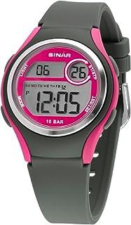 Sinar XE-64-8 - Orologio da polso da ragazza, digitale, LCD, al quarzo, 10 bar, con cinturino in silicone