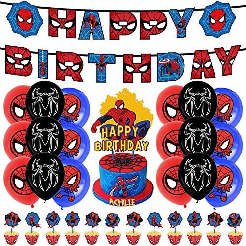 Hilloly Supereroi Decorazioni di Compleanno Kit Decorazioni Supereroi Palloncini Banner Cake Topper Kit di Decorazioni di Compleanno di Uomo Ragno per bomboniere a Tema