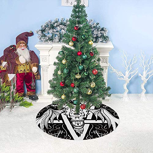 Christmas Tree Skirt Decorations 33 Inch Tree Skirt Mat Base Cover for Xmas Lucifer Devil Goat Pentacle Holiday Party New Year Home Decoration
