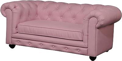 Benjara Benzara Wooden Kids Sofa with Button Tufting, Pink And Black,