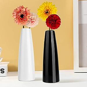 Ceramic Vase of 2,Vase Set with 4 Artificial Flower,Unique Home Decor,Ideal Shelf DéCor,Bookcase DéCor,Cabinet Decor,Modern Farmhouse Decor,Table Decor,Fireplace Decor,Gifts for Birthday.