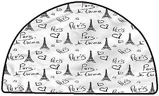 Soft Area Rug for Children Baby Paris,Eiffel Je Taime Doodle,W30 x L18 Half Round All Weather Floor mats