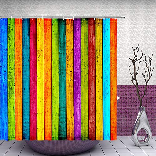 Feierman Colorful Retro Shower Curtain Rainbow Watercolor Wooden Board Bathroom Curtain Fabric Waterproof Polyester with Hooks