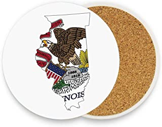 Mrsangelalouise Map and Flag of Prairie State Bald Eagle on Rock Sun Rises State Sovereignty Ceramic Coaster Protective Cork Base Coaster for Drinks Coffee Mug Glass Cup Mat 1 Piece