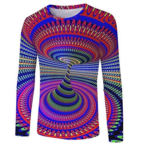 Realde Herren Oder Rundhals Langarm Hemd T-Shirt Kreativ Freizeit 3D Druck Mehrfache Farben Herbst und Winter Passt super auch zur Jeans Männer BequemTops Oberteil Größe S-XXXL