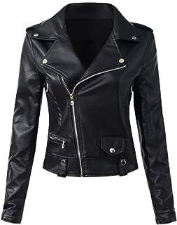 Sungtin Women's Faux Leather Motorcycle Biker Jacket Slim Short Coat