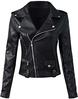 Sungtin Women's Faux Leather Motorcycle Biker Jacket Slim Short Coat