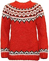 ICEWEAR Brynja 100% Icelandic Wool Hand Knitted Jumper with Crew-Neck Red