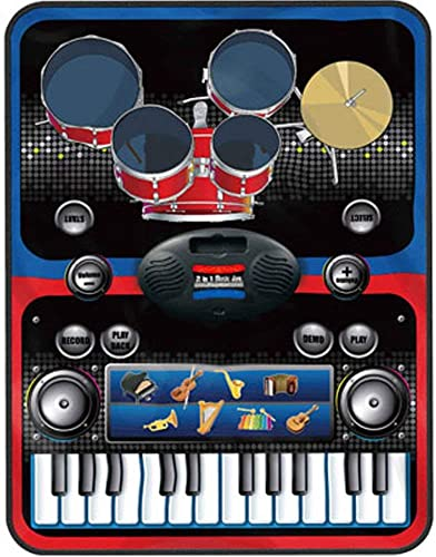 Infizone 2 In 1 Drum Piano Combo Educational Musical Play Mat With 8 Musical Instruments 5Pcs Drum Set 10 Demos 24 Key Keyboard Built In Speaker Record Function