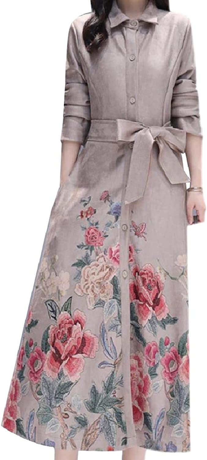 Baseby Women Belt Plus Size Buttoned Notch Collar Floral Trench Coat Outwear