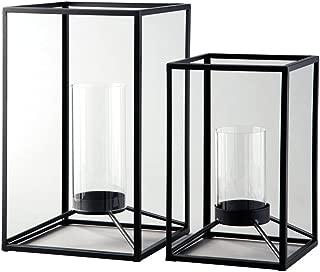 Ashley Furniture Siganture Design - Dimtrois Indoor/Outdoor Lanterns - Set of 2 - Casual - Metal/Glass - Black - Candles Not Included