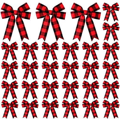30 Pieces Buffalo Plaid Bows Christmas Plaid Check Bows Holiday Decorative Bows Christmas Wreaths Bows for Xmas Tree Home Decor, 4 x 5 Inch (Black Red Plaid)