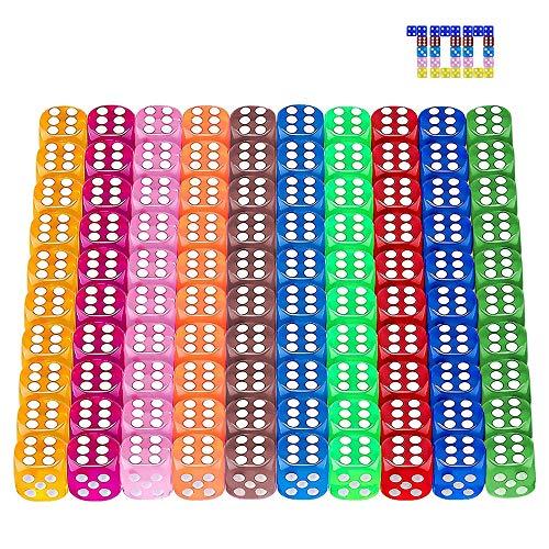 100 Piezas 6-Caras Dados Set,10 Colores Diferentes Dados,Juego de Dados,Translúcidos Dados,Dados para Tenzi, Farkle, Yahtzee, Bunco o la enseñanza de Las matemáticas,Dados de Seis Caras