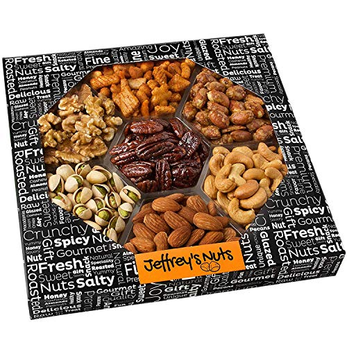 Jeffrey's Nuts Christmas Nut & Snacks Gift Basket Assortment | 7 Variety Gourmet Party Food Gifts...