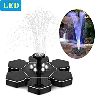 Solar Fountain Pump with LED Lights, Snowflake Shape 2.4W Free Standing Bird Bath Fountain Water Pump, Outdoor Floating Fountain Pump Kit for Garden, Pool, Pond, Patio Ideal Decoration, 8.7