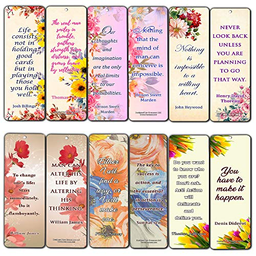 Creanoso Floral Motivational Quotes Bookmarks for Women (12-Pack) – Premium Gift Set – Inspiring Word Sayings Quotes for Ladies, Wife, Girls – Six Bulk Assorted Bookmarks Designs