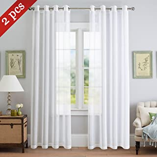 NICETOWN Sheer Curtains for Living Room - Grommet Top Faux Linen Semitransparent Curtains 84 inches Long for Patio Sliding Glass Door (White, 1 Pair, 55 Wide Per Panel)