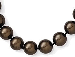 Lex & Lu Sterling Silver Majestik 12-13mm Brown Shell Bead Necklace 18""