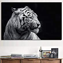 WPFZH Wall decorative canvas painting Animal Wall Art Poster Black White Tiger Head Canvas Painting Wall Picture for Living Room Decor HD Spray Paintingd-24x32inch