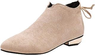 Honestyi Bottes Femme Zipper Chaussures à Talons Bas Pointu Suede Boots Classiques Casual Bottillons Chaussures de Travail...