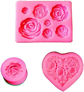 DEVIN0705 Rose Silicone Mold,Small Soap Clay Chocolate Baking Tool DIY Cake Silicone Mold for Baby Shower Party Birthday Party Cake Decoration (Small Rose Mold)