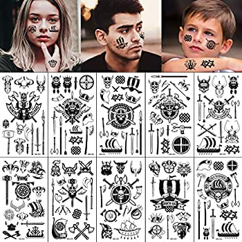 Konsait 130+ Tiny Pirate Temporary Tattoos Black Viking Pirate Fake Tattoos Body Art Stickers for Girls Boys Kids Party Bag Filler Children s Birthday Gift Pirate Party Supplies Favors Face Hand Arm