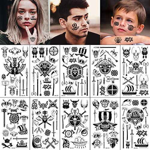 Konsait 130+ Tiny Pirate Temporary Tattoos, Black Viking Pirate Fake Tattoos Body Art Stickers for Girls Boys Kids Party Bag Filler Children's Birthday Gift Pirate Party Supplies Favors Face Hand Arm
