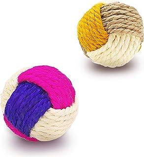 YATDA 猫 おもちゃ 猫 ボール 噛むおもちゃ 麻縄 ボール 運動不足やストレス解消 ダ イエット レーニングなど 猫遊び用 (色組み合わせ) …