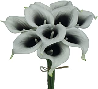 Lily Garden Artificial Picasso Calla Lily Flower Bouquets (Black and White)