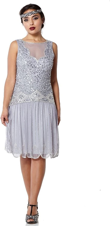 Gatsbylady london Elaina Vintage Inspired Drop Waist Flapper Dress in purplec