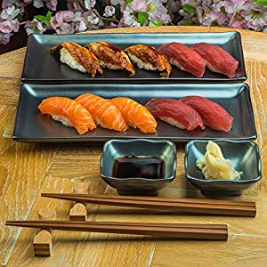Japanese Sushi Plate Set with Sauce Dishes & Chopsticks in Black Sumi Glaze