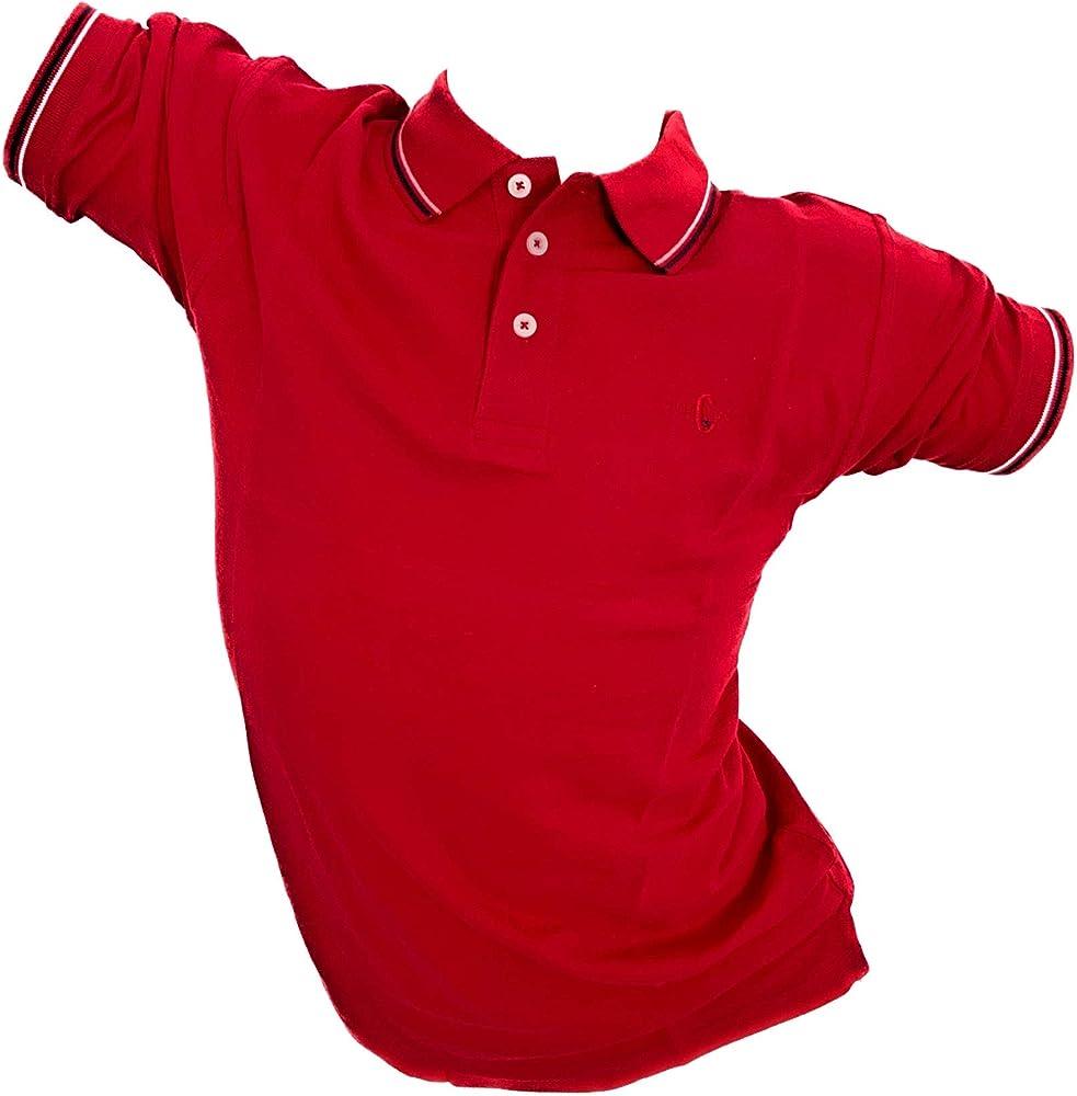 Enrico coveri, polo da uomo, maglietta a maniche corte, 100% cotone, rossa