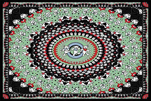 Sunshine Joy Grateful Dead Dancing Bear Tapestry Tablecloth Wall Art Beach Sheet Huge 60x90 Inches - Black & Green