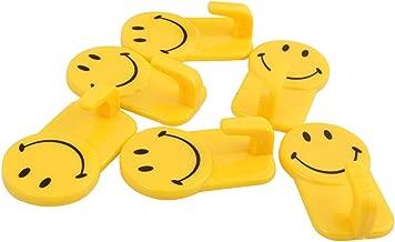 SWAB Plastic Self-Adhesive Smiley Face Wall Hooks, 3 Kg Load Capacity, 06 Piece Set