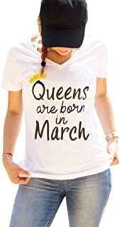 Birthday Shirts Queens are Born in Birth Month Shirt V-Neck