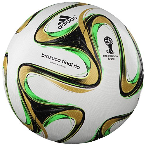 Adidas Matchball BRAZUCA Finale Rio Fussball WM 2014 white-black-metallic gold-solar green - 5