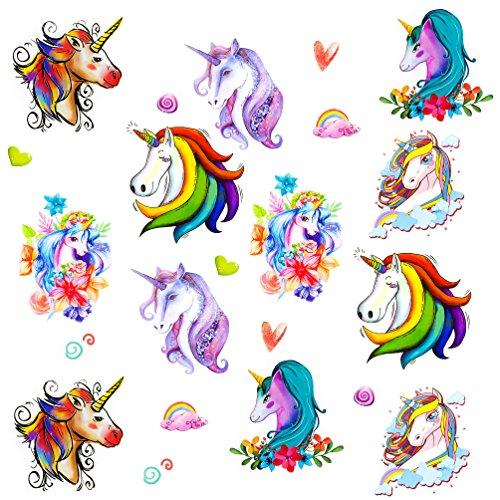 Oblique Unique® Einhorn Tattoo Set romantisch farbenfrohe temporäre Tattoos Unicorn Kinder Geburtstag