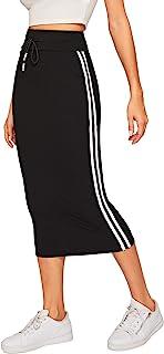 Women's Casual Drawstring Waist Split Back Solid Midii Skirt