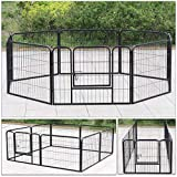 Display4top Heavy Duty Puppy Play Pen Pet Foldable and Portable Playpen for Dogs Cat Rabbit Indoor/Outdoor,8 Panel,Black (60cm x 80cm)