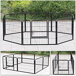 Display4top Heavy Duty Puppy Play Pen Pet Foldable and Portable Playpen for Dogs Cat Rabbit Indoor/Outdoor,8 Panel,Black
