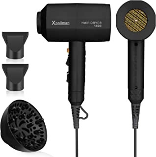 Xpoliman Hair Dryer, Negative Ionic Salon Hair Blow Dryer with Powerful Professional DC Motor, 2 Speed 3 Heat Setting, Cool Shot Button, Light Weight Low Noise,Long Life Styler Dryer with Nozzle-Black