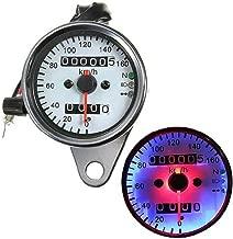 Iztor Universal silver Motorcycle Dual Odometer Speedometer Gauge 0-160km/h LED Backlight Signal Light Neutral Headlight Indicator